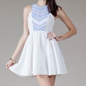 White & Blue Chevron Stitch Fit & Flare Dress Med